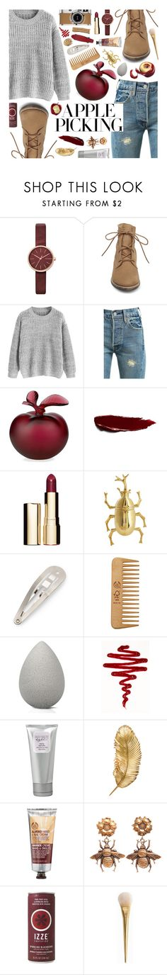 """Apple Picking (Contest Entry)"" by mormon-girl ❤ liked on Polyvore featuring Skagen, Steve Madden, Levi's, Lalique, Clarins, Oscar de la Renta, Hermès, The Body Shop, beautyblender and Laura Mercier"