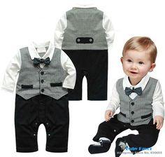 Bebe Infantil Baby Boys para niños de los mamelucos del mono de ropa de vestir traje Bowknot caballero Roupa Creepers Formal regalo del partido