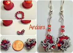 Andairadas: Pendientes nespresso Diy Earrings, Washer Necklace, Diy And Crafts, Jewlery, Beads, Pendant, Diy Kid Jewelry, Ear Rings, Beading