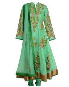 Blossom Embroidered Anarkali Set pistagreenA77PistaGreenB
