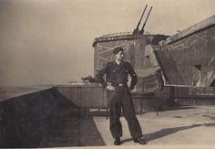 Flak Tower: rotating 128 mm twin gun in its corner turret (background)