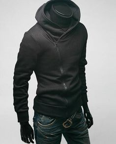 'Sophisticated Shinobi' Hoodie Jacket Asymmetrical Zipper