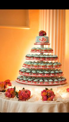 Wedding cupcake tower, use Andreas wedding colours.