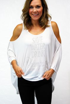 """Check out our """"Save Water Drink Champagne"""" on our Malibu top! Available in 3 shades - white, pebble, black #shopscandalous #SpringFashion"""