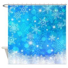 Blue Winter Snowflakes Pattern Chri Shower Curtain by Liviana - CafePress Custom Shower Curtains, Bathroom Shower Curtains, Fabric Shower Curtains, Christmas Bathroom, Snow Flakes, Shower Rod, Snowflake Pattern, Christmas Decorations