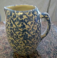 Vintage blue spongeware pitcher; likely UHL Pottery Co. for sale at More Than McCoy at http://www.morethanmccoy.com