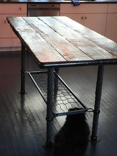 Wood, steel and wire rope kitchen table with modern-medieval flare | CustomMade