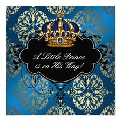 Royal Navy Blue Gold Prince Baby Boy Shower Invitations $1.90