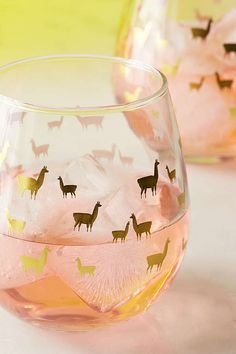 Slide View: 3: Foiled Llama Stemless Wine Glass Set
