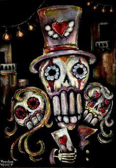 Acrylic on black velvet, velvet painting  - Deal me in !! -Voodoo Velvet ©TM #voodoo #velvet #painting #voodoovelvet #velvetpainting