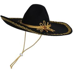 Felt Sombrero: Wear this Felt Sombrero for a fiesta or to complete a costume! Features a black felt sombrero with gold embellishments. One size fits most adults. Includes 1 per package. Gold Hats, Fiesta Theme Party, Fiesta Decorations, 6 Pack, Black Felt, Costume Accessories, Party Hats, Cowboy Hats, Party Supplies