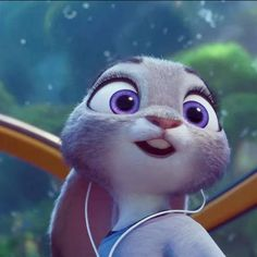Judy Hopps, I love that she has purple eyes!!! One of the rare Disney characters to have purple as an eye color.