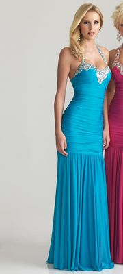 Turquoise Ruched Chiffon Beaded Sweetheart Halter Prom Dress