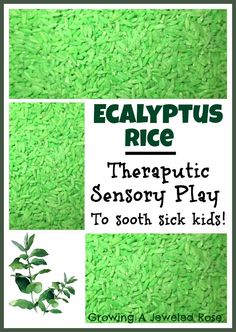 EucalyptusRice- SoothingTherapeuticSensory Play - this would be awesome with doTERRA's Eucalyptus essential oil
