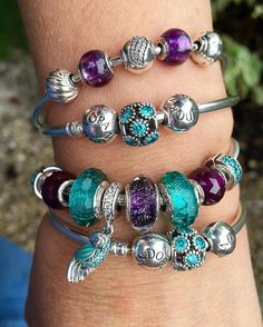 Can't stop looking at my favourite purples and teals! #pandorabracelets…