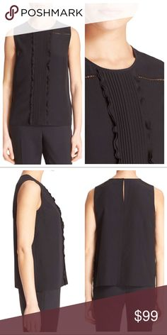 """Kate Spade New York Black Pleated Silk Top New With Tags - Sleeveless black silk top with crewneck, ruffly trim, sheer open stitched accents and back keyhole with hook and eye closure. 100% Silk. Dry Clean. Bust 33"""", Length 23"""". kate spade Tops Blouses"""