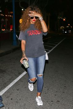 Long day? Rihanna looked ready for bed after a day of partying with her friends in Los Angeles on Sunday