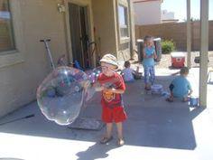 Chipman's Corner Preschool: MEGA BIG BUBBLES! Easy, homemade mega big bubble blower.
