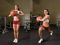 Rotational Walking Lunge With Medicine Ball core stability website Killer Workouts, Tabata Workouts, Hiit, Fitness Workouts, Ball Workouts, Muscle Fitness, Fitness Tips, Fitness Motivation, Health Fitness