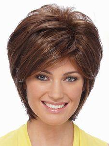 Perruque parfaite courte brune foncée ébouriffée et frisée