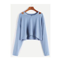 SheIn(sheinside) Blue Cut Out Neck Crop T-shirt (€9,38) ❤ liked on Polyvore featuring tops, t-shirts, blue, v neck t shirts, blue crop top, long sleeve t shirts, long-sleeve crop tops and long sleeve v neck tee