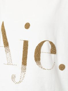 Aje bead embellished logo T-shirt Embroidery Fashion, Beaded Embroidery, Hand Embroidery, Embroidery Designs, Techniques Couture, Shirt Print Design, Embroidery Techniques, Printed Shirts, Logo T Shirts