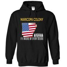 MARICOPA COLONY - Its Where My Story Begins - #gray tee #tshirt display. SECURE CHECKOUT => https://www.sunfrog.com/States/MARICOPA-COLONY--Its-Where-My-Story-Begins-eegww-Black-14966040-Hoodie.html?68278