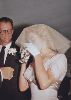 Marilyn and Arthur Miller on their wedding day. Photo by Milton Greene, 1 July, 1956.
