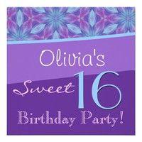 Sweet 16 Birthday Purple Blue Flowers Personalized Invitation. #invite #invitation #celebrate #celebration #announce #announcement #sweet #16 #sixteen #birthday