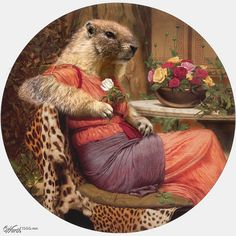 """""""Marmot with roses"""" anthropomorphic art by sugarcane - 7th place entry in Animal Renaissance 10."""