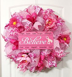 Breast Cancer Wreath, Breast Cancer Awareness Wreath, Breast Cancer Survivor, Breast Cancer Believe, BCA, Breast Cancer Gifts