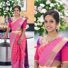 Saree Picks- Pink Saree- Part 2 South Indian Wedding Saree, Saree Wedding, Wedding Shoot, Traditional Silk Saree, Traditional Outfits, Bridal Looks, Bridal Style, Bridal Silk Saree, Designer Blouse Patterns