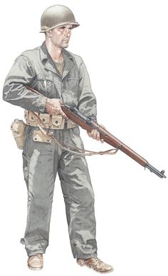 US Army, MTO or Pacific, 1943 [by '44 the HBT coveralls were gone in the infantry]