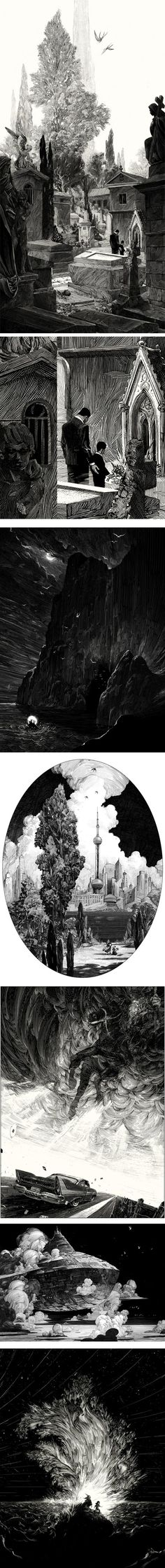Nicolas Delort, a freelance illustrator based in Paris, creates wonderfully textural pen & ink (and/or scratchboard?) illustrations that take inspiration from greats like Franklin Booth and Gustav Doré — with perhaps a bit of Joseph Clement Coll and Virgil Finlay thrown in for good measure.