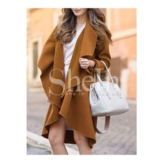 01fea3d6e63 Camel Waterfall Collar Duster Coat ❤ liked on Polyvore featuring outerwear