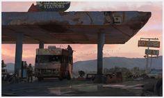 "artissimo: "" gas station by blake rottinger Sparrow Volume Ashley Wood 3 "" Art Apocalypse, Apocalypse Landscape, Apocalypse Aesthetic, Apocalypse World, Apocalypse House, Arte Zombie, Zombie Art, Ashley Wood, Station Essence"