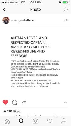And he did such a thing because he knew that Cap would never do something that wasn't right, because fighting for your freedom and the freedom of others is never wrong. Not because Cap is A Hydra agent. Avengers, Scott Lang, Captain America Civil War, Appreciation Post, Fandoms Unite, Super Heros, Marvel Dc Comics, Bucky Barnes, Guardians Of The Galaxy