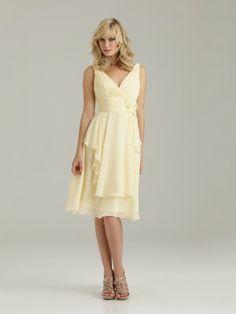 Medium length pale yellow Bridesmaid's dress