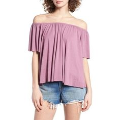 Women's Bp. Off The Shoulder Top ($25) ❤ liked on Polyvore featuring tops, purple mauve, pink top, pink off the shoulder top, off shoulder tops, pink off shoulder top and off the shoulder tops