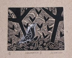 Liz Toole Linocuts   For art classes, this might work well as detailed styrofoam print ....?