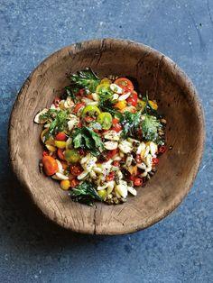 tomato and crispy parsley pasta salad