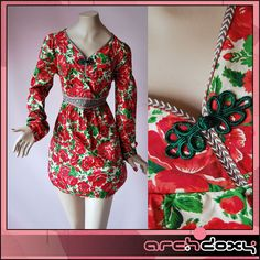 Vintage 1970s Cool Bubble Skirt Printed Toggle Bohemian Antique Rose Dress UK14