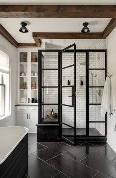 Home Interior Inspiration Modern Farmhouse-Upstate On the Drawing Board.Home Interior Inspiration Modern Farmhouse-Upstate On the Drawing Board Dream Bathrooms, Small Bathroom, Master Bathrooms, Paris Bathroom, Bathroom Towels, Bathroom Taps, Master Baths, Bathroom Black, Shower Bathroom