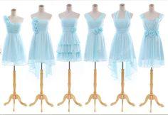 2014 Light Sky Blue Strapless Halter/One-Shoulder Flower A-Line Short Ruffled Bridesmaid Dress,Knee length Chiffon Evening Party Prom Dress