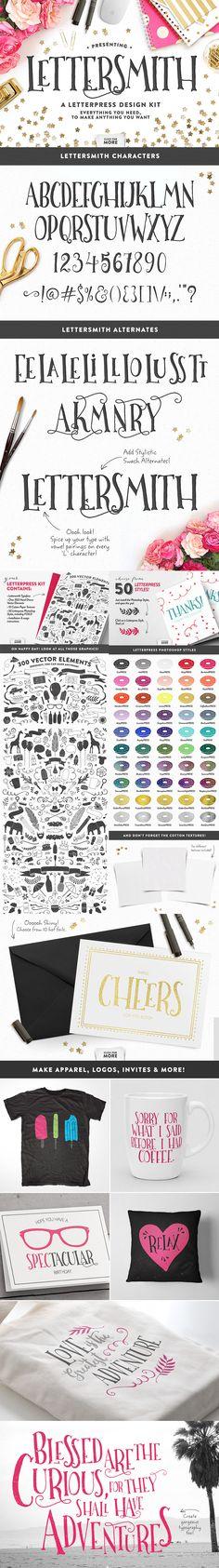 Lettersmith - Letterpress Design Kit by Make Media Co   22 Professional & Artistic Fonts Apr 2015
