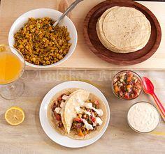 Cauliflower Tacos with Orange-Strawberry Salsa and Baja Sauce