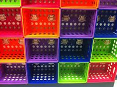 Stack colorful filing crates to use as classroom cubbies or shelves! If they were zip-tied, it would move as a unit and be safe! :)