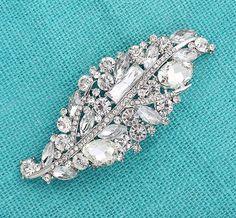 Bridal Brooch Jewelry Embellishment Bridesmaid Dress Sash Big Crystal  Silver Broaches Cake DIY Crafts Big Rhinestone Broaches for Wedding 890457a7dbee