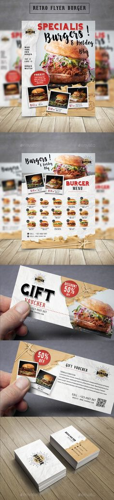 Retro Flyer Burger  — PSD Template #retro menu #flyer • Download ➝ https://graphicriver.net/item/retro-flyer-burger/18297915?ref=pxcr