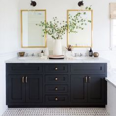 bathroom inspiration bathroom remodel black and white bathroom navy bathroom classic bathroom small bathroom mixed metal finishes in bathroom modern bathroom black and brass navy and brass small bathroom ideas small bathroom inspiration bathroom design Black Cabinets Bathroom, White Bathroom Paint, Black White Bathrooms, Double Sink Bathroom, Bathroom Colors, Small Bathroom, Bathroom Black, Design Bathroom, Bathroom Modern
